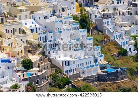 Cityscape of Thira in Santorini island - Greece - stock photo