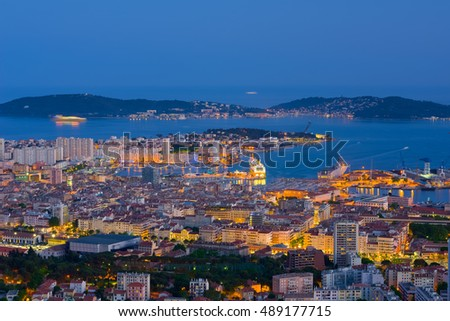Cityscape of Toulon in a spring night