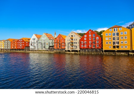 Cityscape of Trondheim Norway - architecture background - stock photo