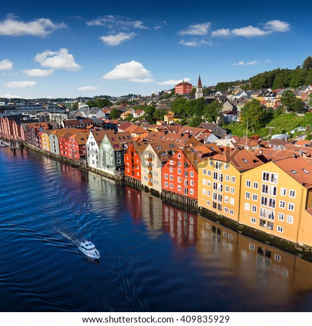 Cityscape of Trondheim, Norway river building on wood - stock photo