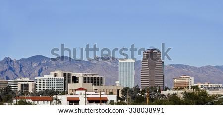 Cityscape of Tucson downtown and Santa Catalina mountain range, Arizona - stock photo
