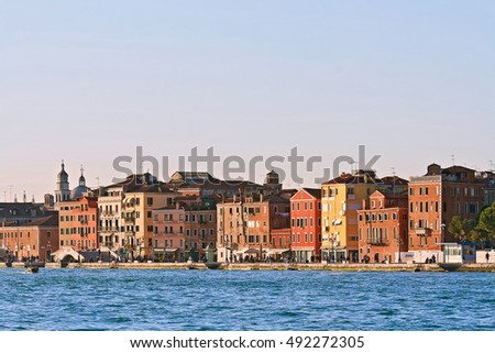 Cityscape of Vanice town, Italy from Passenger Cruise