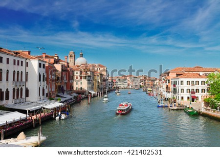 cityscape of Venice - Grand canal with boats  at sunny day, Venice, Italy