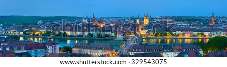 Cityscape of Wurzburg in a summer night - stock photo