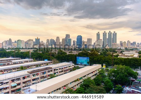 Cityscape, office buildings and apartments at Bangkok Thailand.