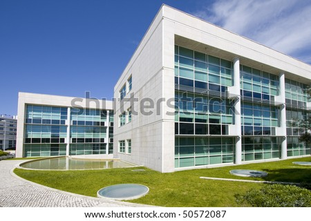 Cityscape office buildings with modern corporate architecture - business and success concept - stock photo