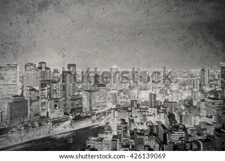 cityscape on grunge wall background