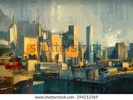 cityscape painting of urban sky-scrapers at sunset - stock photo