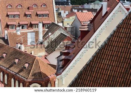 Cityscape panorama of old town Tallinn, Estonia, Europe - stock photo