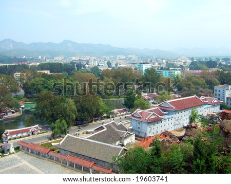 Cityscape panorama of the Pyongyang capital of the North Korea - stock photo
