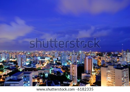 Cityscape - Photo of a Big City at night . - stock photo