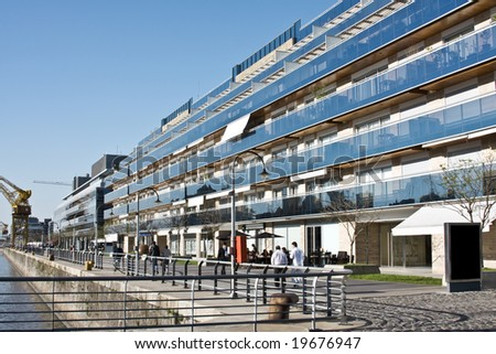 Cityscape. Puerto Madero, Buenos aires, Argentina. Focus on building. - stock photo