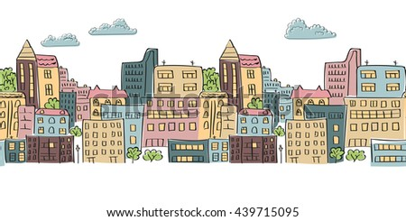 Cityscape seamless pattern for your design. Doodle colorful city raster background. Horizontal urban scene. - stock photo