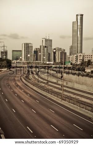 Cityscape - sepia - stock photo