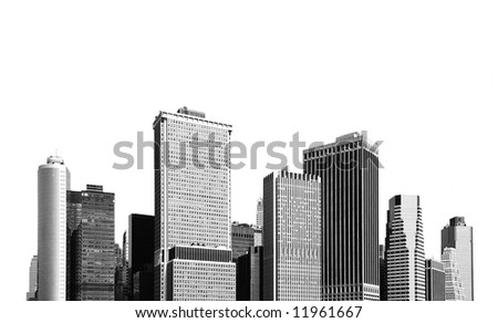 cityscape - silhouettes of skyscrapers over white background - stock photo