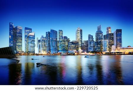 Cityscape Singapore Panoramic Night Concept - stock photo