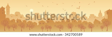 Cityscape Skyline.  Panorama of the Big City. Urban Background with City Park in Shades of Yellow. Early morning in a large modern city, a banner with city views - stock photo