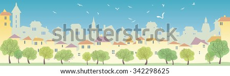 Cityscape skyline.  Panorama of the big city. Urban background with city Park.  Summer time. View of the town in the summer. Sunny day in the big city - stock photo