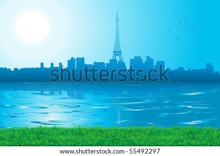cityscape skyline paris in a sunny day - stock photo