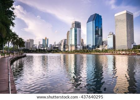 cityscape Suan benja kitti in Bangkok ,blue sky background ,Thailand. - stock photo