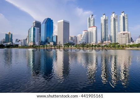 cityscape Suan benja kitti in Bangkok ,blue sky background ,Thailand.