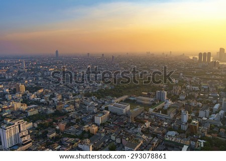 Cityscape sunset at center of Bangkok, Thailand - stock photo