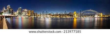 cityscape,sydney,nightfall,panorama view - stock photo