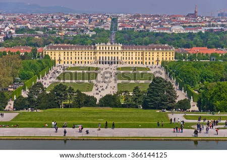 Cityscape telephoto view of Vienna from Gloriette at Schoenbrunn palace, Austria - stock photo
