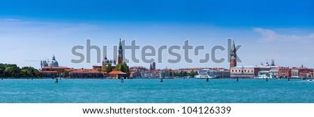 Cityscape Venice, sea view Piazza San Marco with Campanile, Doge Palace and Isola San Giorgio Maggiore in Venice, Italy. - stock photo