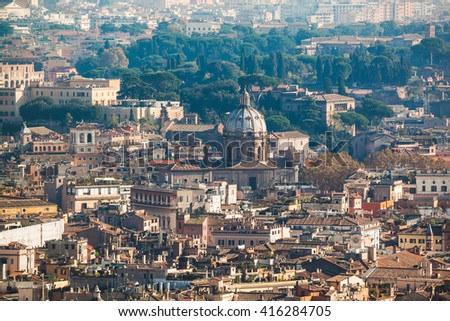 Cityscape view of central Rome taken from St Peter Basilica. Rome, Italy - stock photo