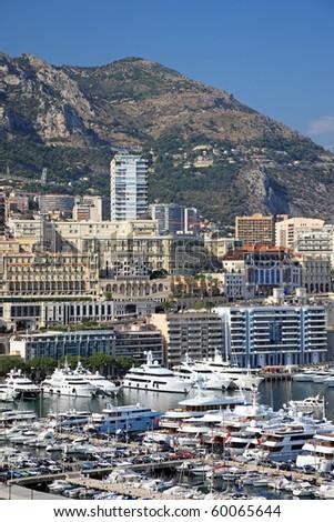 Cityscape view of Monaco principality, Europe. - stock photo