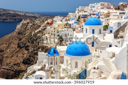 Cityscape view of Oia, Santorini island in Greece. - stock photo