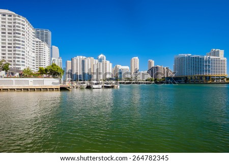Cityscape view of the Brickell area in downtown Miami along Biscayne Bay.
