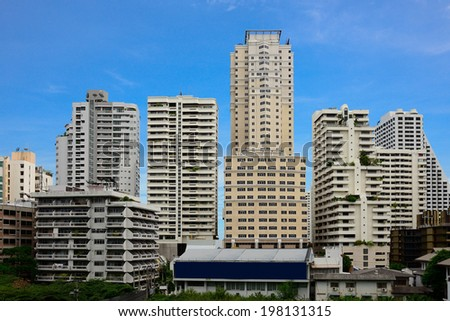 Cityscape view with condos and office buildings. - stock photo