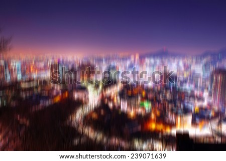 cityscape with blur motion - stock photo