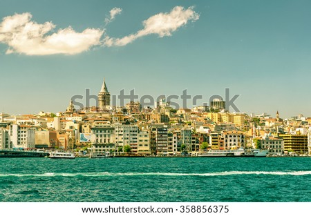 Cityscape with Galata Tower in Istanbul, Turkey. View from the Golden Horn. - stock photo