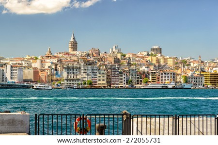 Cityscape with Galata Tower over the Golden Horn in Istanbul, Turkey - stock photo
