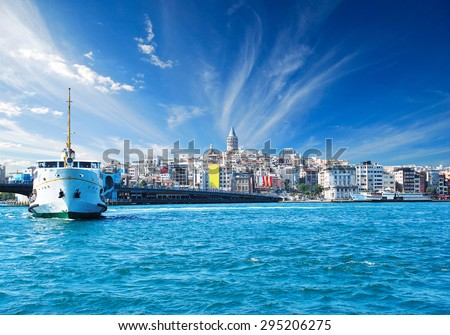 Cityscape with Galata Tower over the Golden Horn in Istanbul, Turkey
