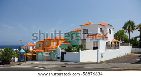 Cityscape with luxury villas, Tenerife Island, Canary. - stock photo