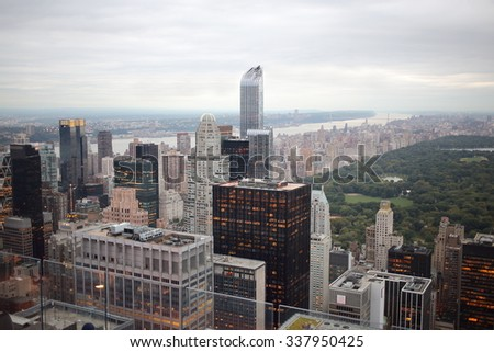 Cityscape with many buildings and tourists at the summer day. - stock photo