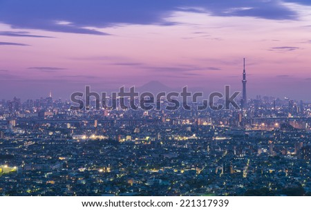 Cityscape with Mt Fuji on the background - stock photo