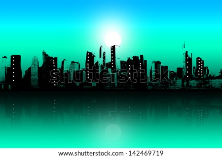 Cityscape with Reflection in digital background