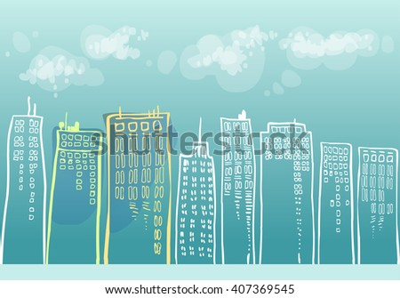 cityscape with skyscrapers - stock photo