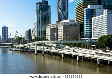 Cityscape with skyscrapers and modern bridge road. Space for text. Modern city on the river. Brisbane, Australia