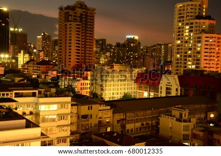 Cityscapes in the city at night in Bangkok.