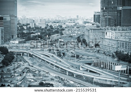"""Cityscapes Moscow; business center """"Moscow City"""". The Third Ring Road. photo toned in blue color - stock photo"""