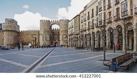 Cityspace of Castle of Avila et Castilla and Leon, Spain - stock photo