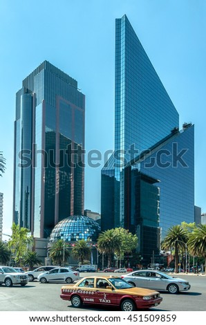 CIUDAD DE MEXICO / MEXICO - FEBRUARY 23 2016: Mexican Stock Exchange or Bolsa Mexicana de Valores in Paseo de la Reforma, Mexico City - stock photo