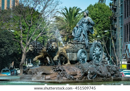 CIUDAD DE MEXICO / MEXICO - MARCH 2 2014: Cibeles fountain bronze replica in Colonia Roma, Mexico City. Symbol of brotherhood between the Spanish and Mexican communities, installed in 1980. - stock photo