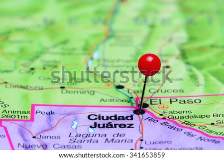 Ciudad Juarez pinned on a map of Mexico  - stock photo